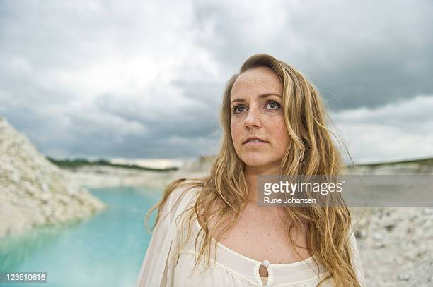 portrait of a danish woman, 28 years old, looking up into the distance, faxe kalkbrud, denmark - 25 29 years stock pictures, royalty-free photos & images