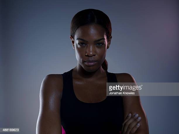 Portrait of a dark skinned female, post workout