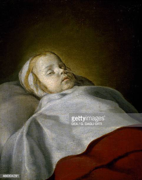 Portrait of a dead child ca 1650 Flemish painting oil on canvas 58x475 cm