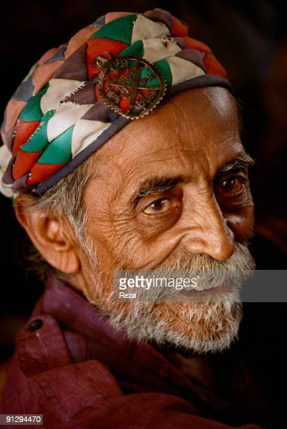 Portrait of a dervish in Sehwan sharif during the annual celebration of Urs of Lal shahbaz Qalandar a 13th century Sufi Master worshiped alike by...