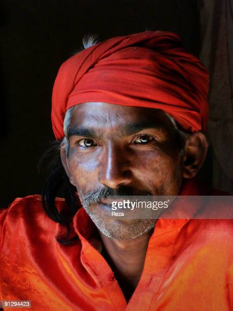 Portrait of a dervish in Sehwan Sharif on January 2007 in Sehwan Sharif Pakistan Devotees of different sect of religion chose different clothing Some...