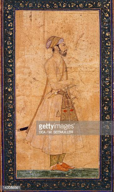 Portrait of a dignitary miniature from the Mughal School India 18th Century