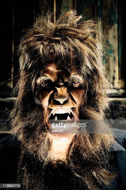 Portrait of a dim lit werewolf