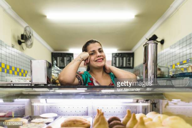 portrait of a diner owner in brazil - brazilian ethnicity stock pictures, royalty-free photos & images