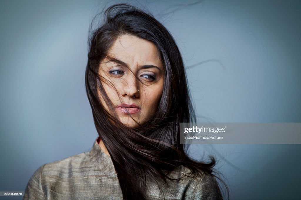 Portrait of a distressed woman : Stock Photo