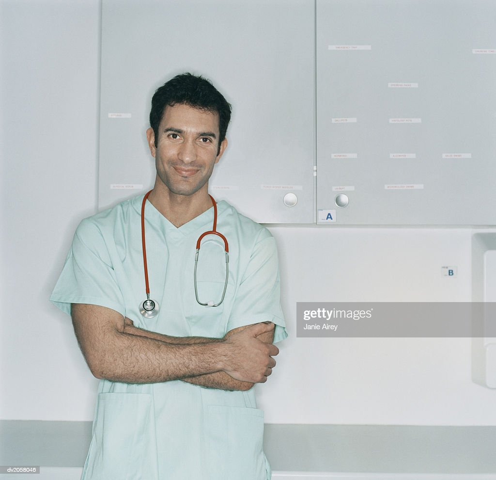 Portrait of a Doctor With a Stethoscope Around His Neck : Stock Photo