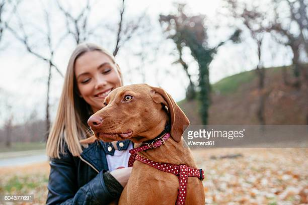 portrait of a dog with dog harness with owner in the background - collar stock pictures, royalty-free photos & images