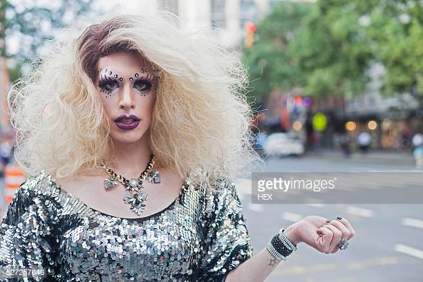 portrait of a drag queen - drag queen stock pictures, royalty-free photos & images