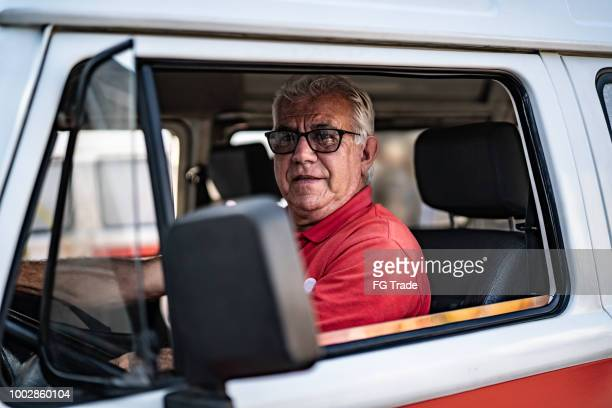 portrait of a driver - old truck stock pictures, royalty-free photos & images