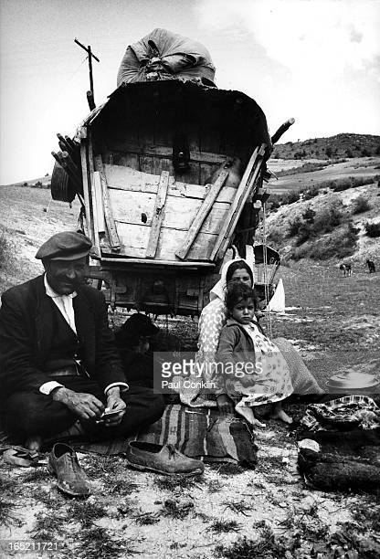 Portrait of a family of Turkish gypsies in front of their caravan Turkey ca 1960s