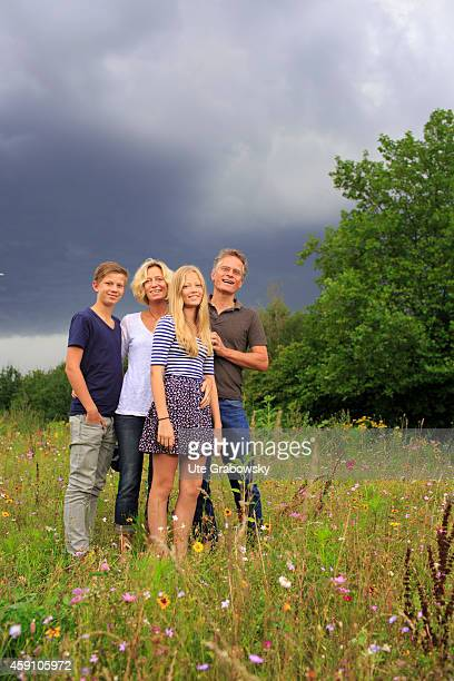 Portrait of a family on a flower meadow on August 12 in Duelmen Germany Photo by Ute Grabowsky/Photothek via Getty Images