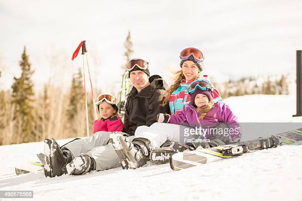 Portrait of a Family on a Ski Hill