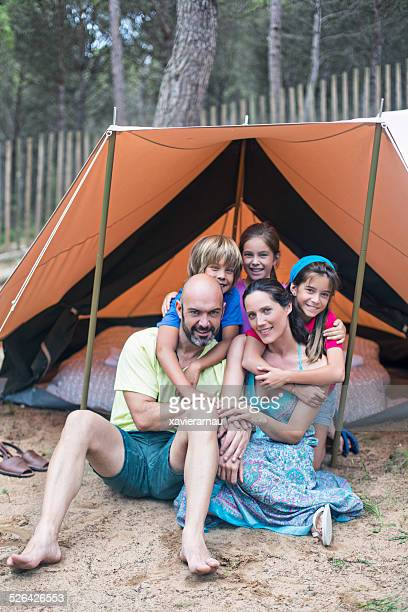 Portrait of a family on holidays in the camping