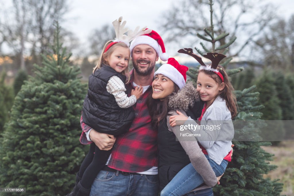 Portrait Of A Family With Two Kids At The Christmas Tree Farm High Res Stock Photo Getty Images