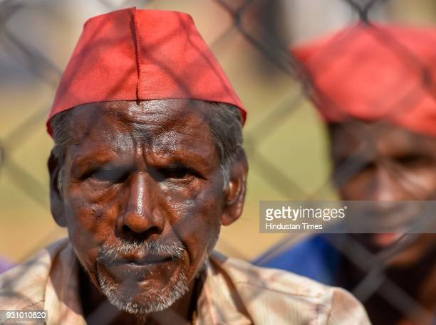 A portrait of a farmer during farmers protest march at Azad maidan on March 12 2018 in Mumbai India Over 30000 farmers from across Maharashtra who...