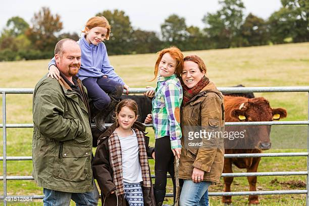 Portrait of a Farming Family Outdoors in the Field