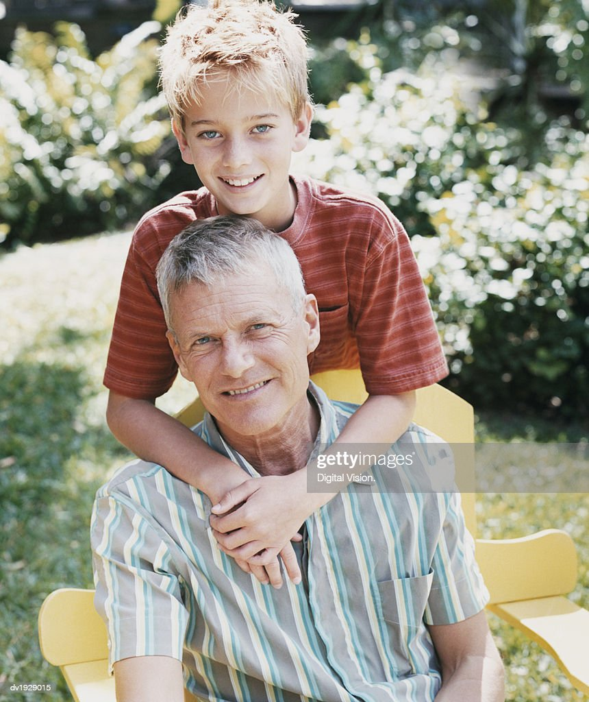 Portrait of a Father With His Son : Stock Photo