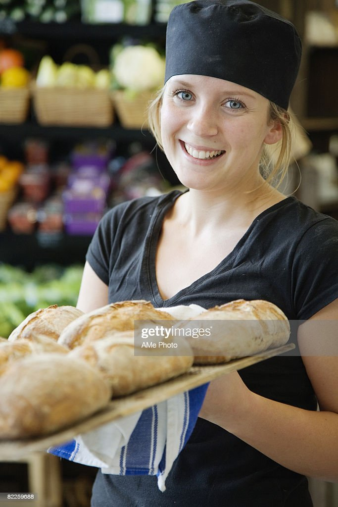 Portrait of a female baker Sweden. : Stock Photo