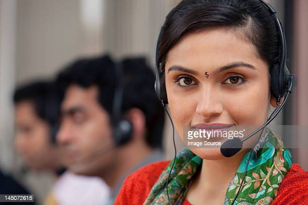 Portrait of a female call center agent
