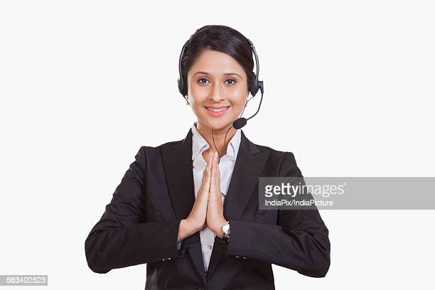 Portrait of a female call centre representative