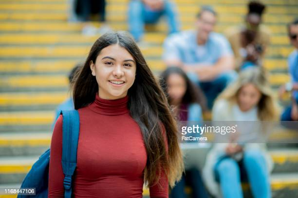 portrait of a female college student - community college stock pictures, royalty-free photos & images