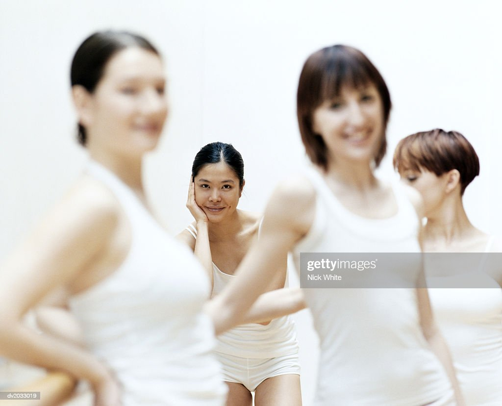 Portrait of a Female Dancer in a Group of Dancers : Stock Photo