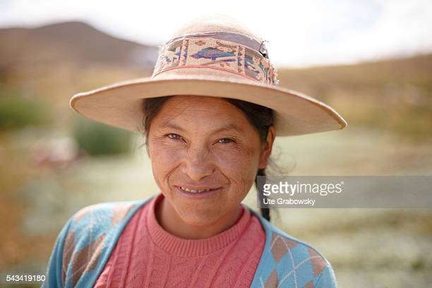 Portrait of a female farmer in the Andes of Bolivia on April 15, 2016 in Sacaca, Bolivia.
