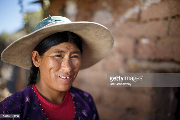 Portrait of a female farmer in the Andes of Bolivia on April 16 2016 in Tarwachapi Bolivia