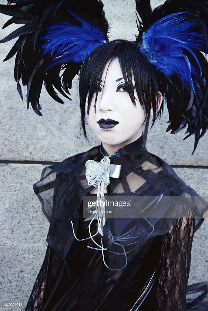 Portrait of a Female Goth, Harajuku, Tokyo, Japan : Stock Photo