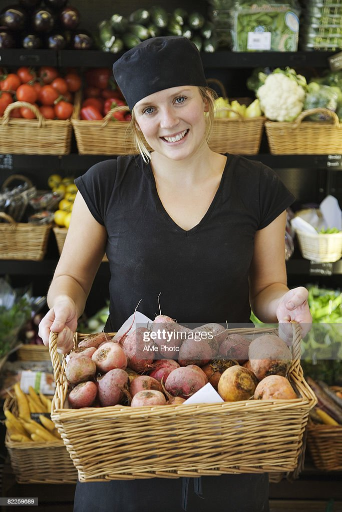 Portrait of a female greengrocer Sweden. : Stock Photo