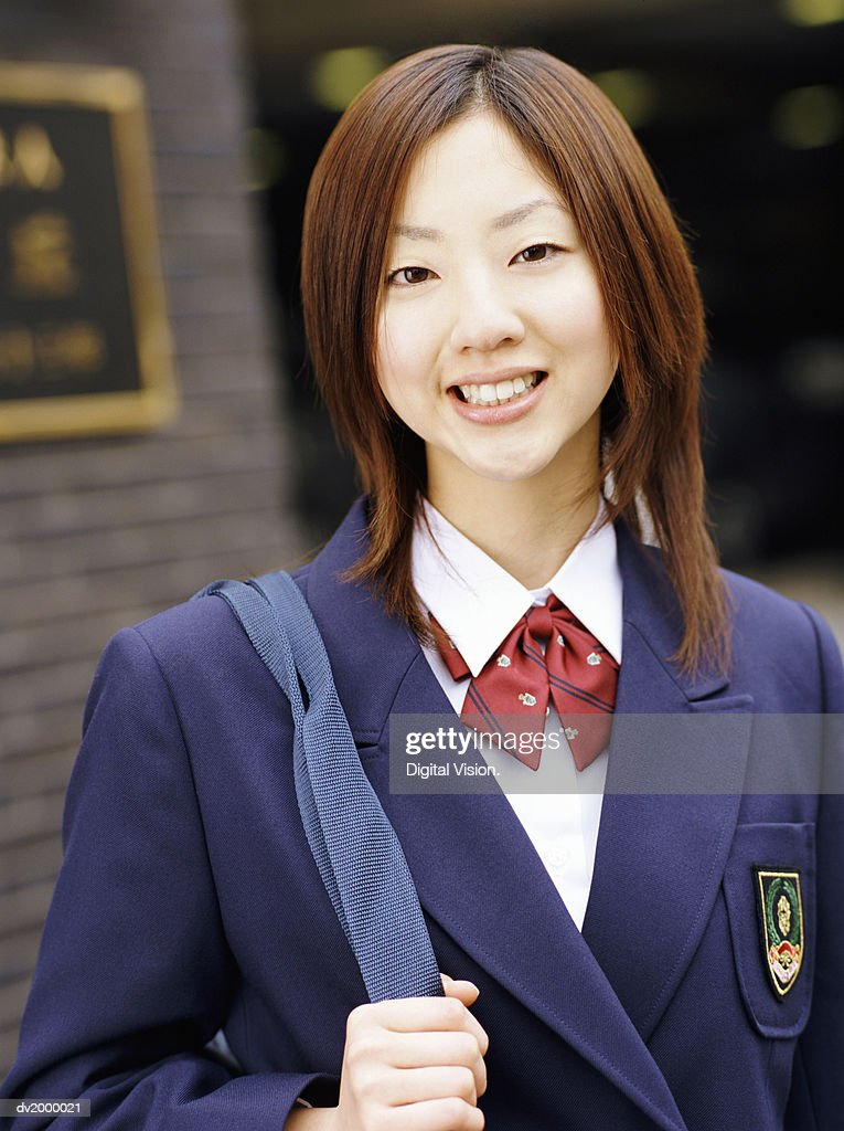 Portrait of a Female High School Student Smiling : Stock Photo