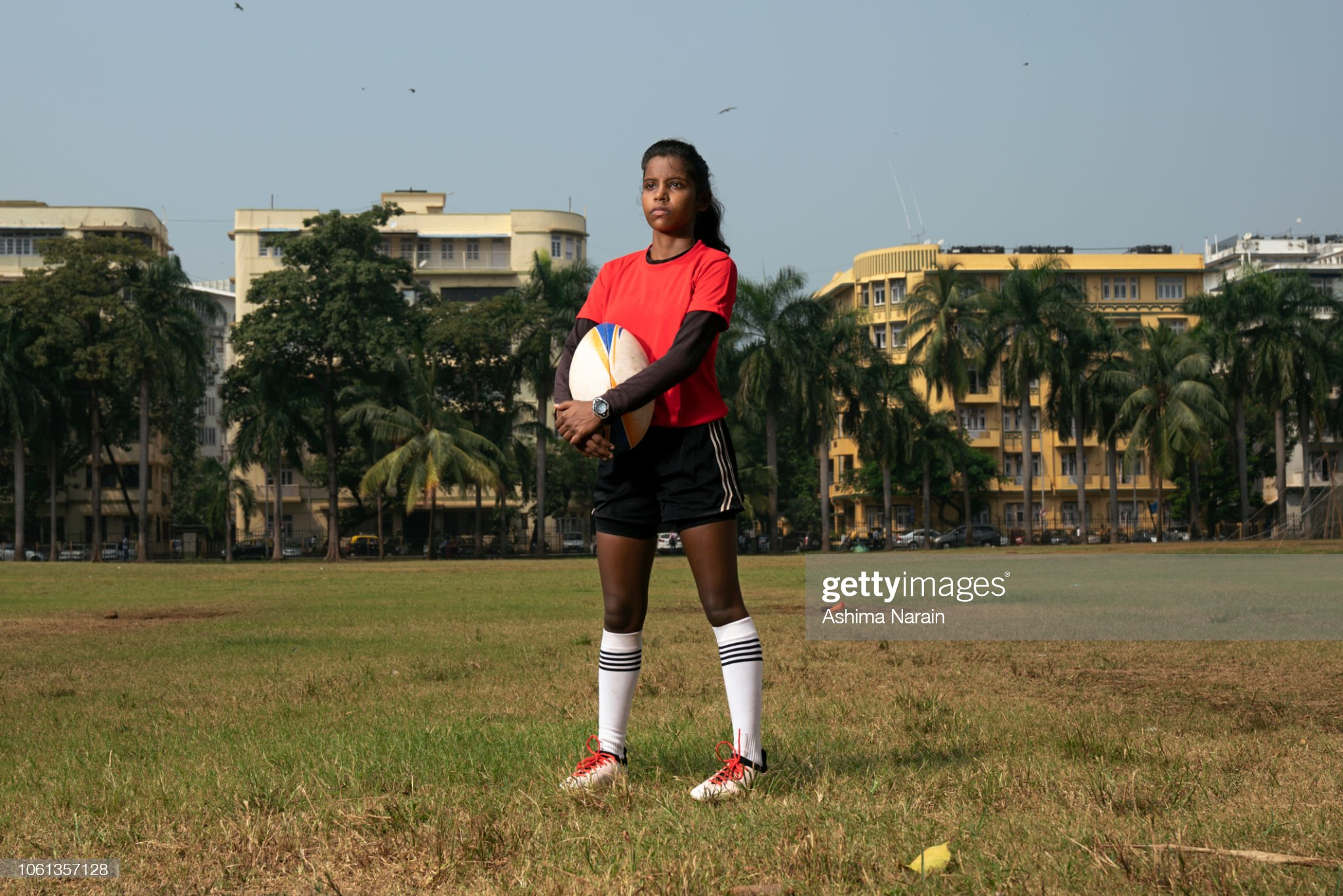 Portrait of a female Indian rugby player : Stock Photo