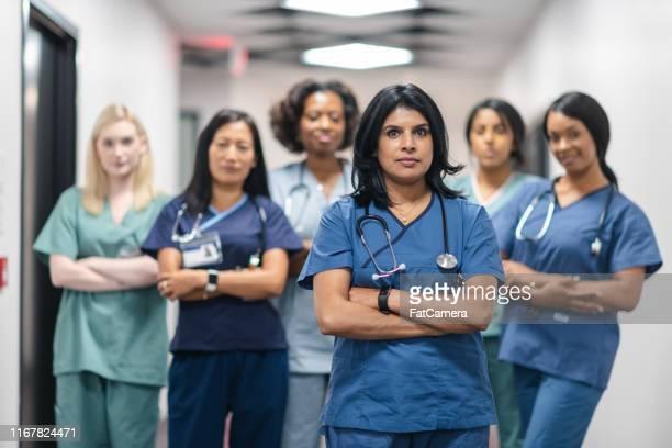 retrato de un equipo médico femenino - equidad de genero fotografías e imágenes de stock