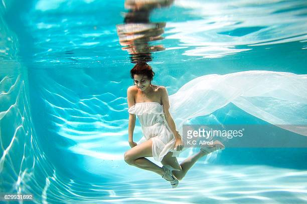 Portrait of a female model in high heels underwater in a swimming pool in San Diego, California.