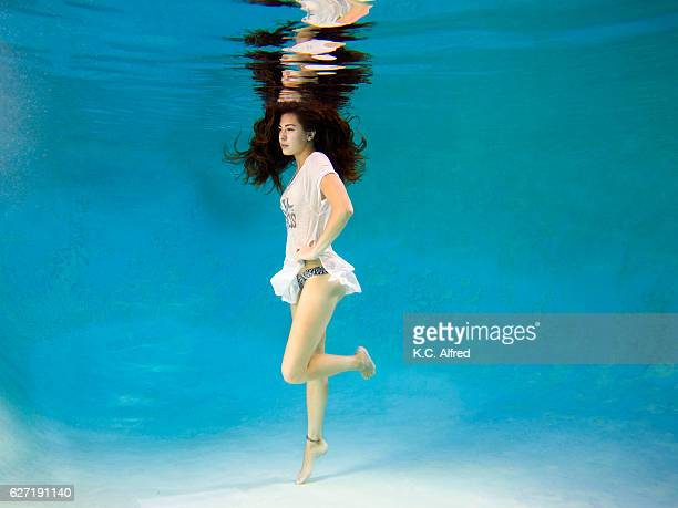 Portrait of a female model underwater in a swimming pool in San Diego, California
