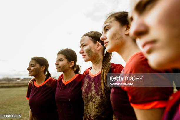 portrait of a female rugby team - rugby team stock pictures, royalty-free photos & images