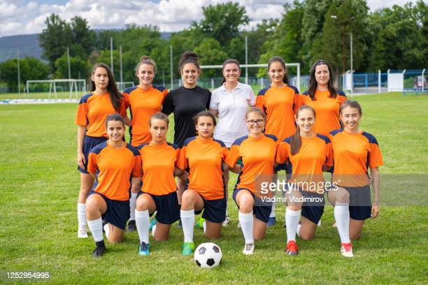 portrait of a female soccer team - football face mask stock pictures, royalty-free photos & images