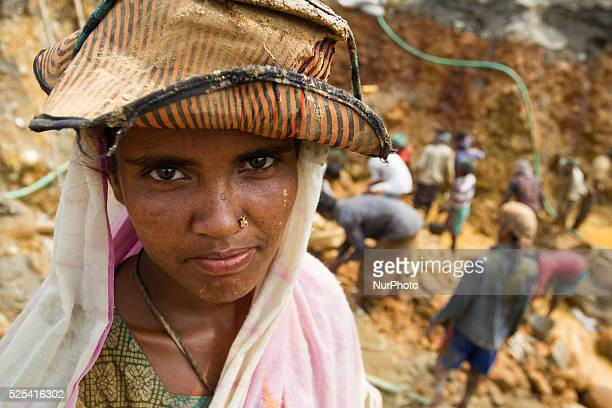 Portrait of a female stone worker in Jaflong stone extraction site in Sylhet Bangladesh on February 28 2015 Sylhet is a very resourceful place of...