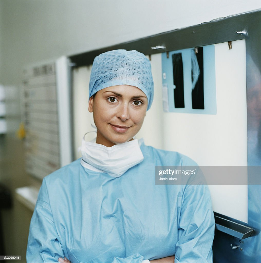 Portrait of a Female Surgeon in Operating Outfit : Stock Photo