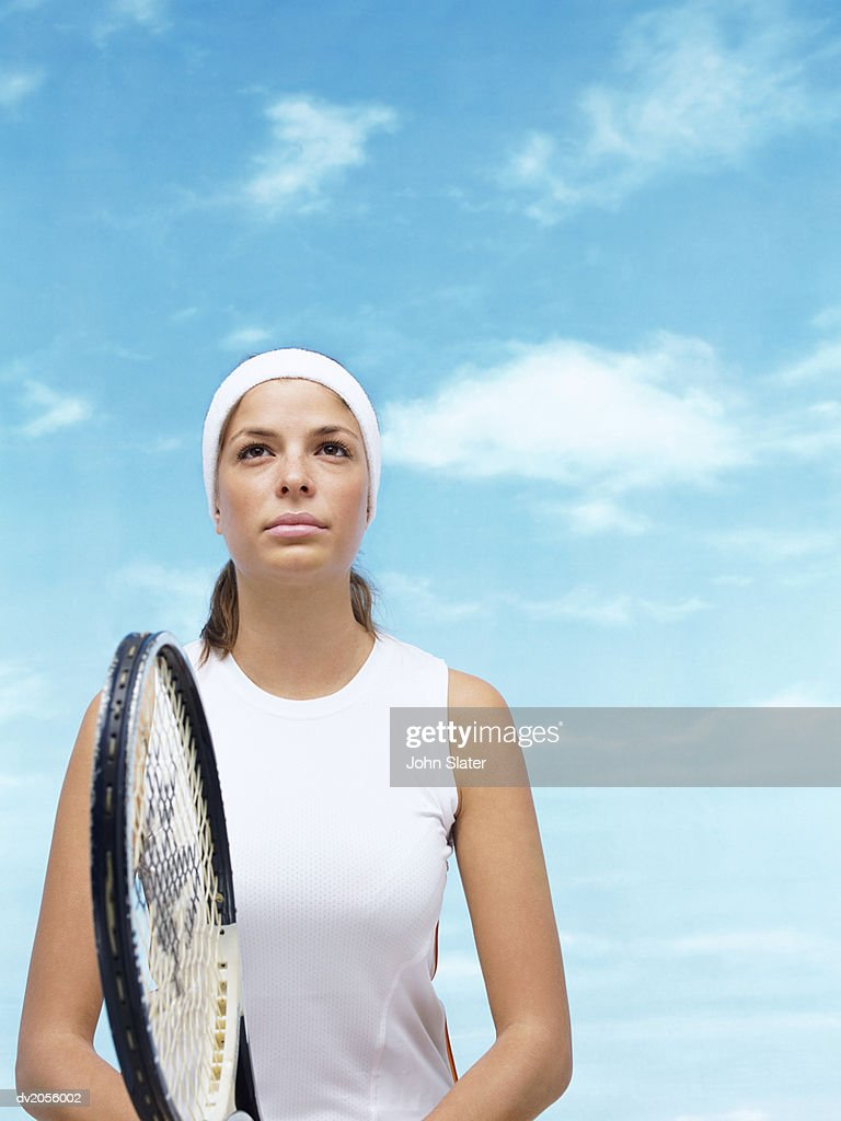 Portrait of a Female Tennis Player : Stock Photo