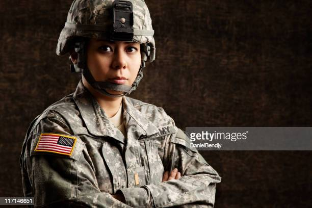 portrait of a female us military soldier - officer military rank stock pictures, royalty-free photos & images