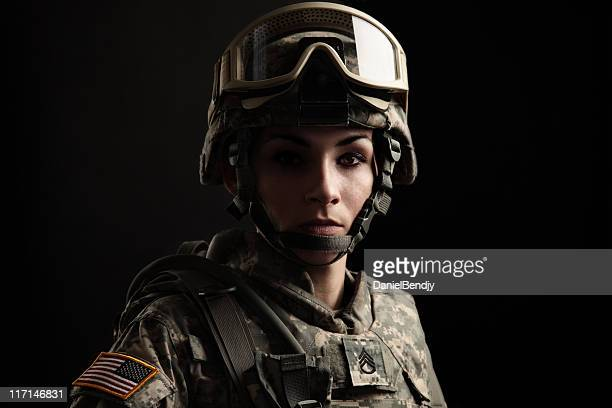 portrait of a female us military soldier - armed forces stock pictures, royalty-free photos & images
