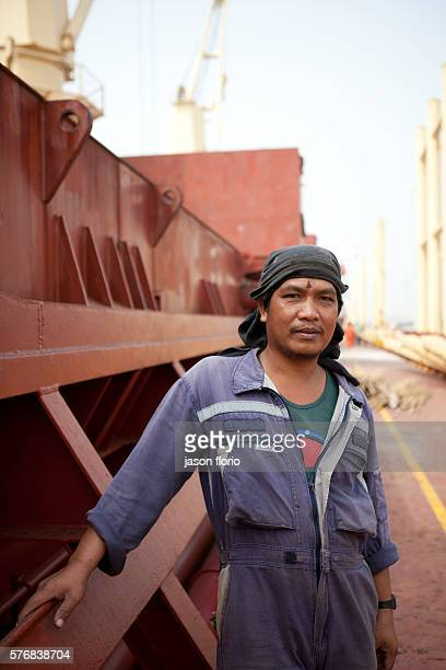 Portrait of a Filipino seaman on board a container ship at the Port of CotonouBenin West Africa