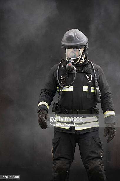 Portrait of a fireman from Wiltshire Fire And Rescue Service photographed during a training exercise at Cotswold Airport in Gloucestershire taken on...