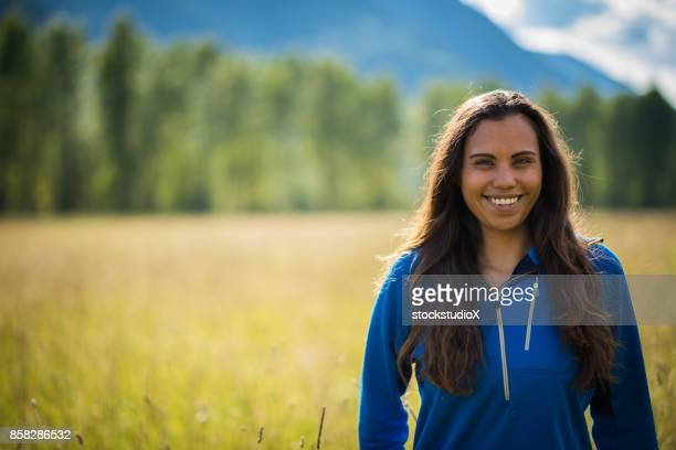 portrait of a first nations canadian woman - traditionally canadian stock pictures, royalty-free photos & images
