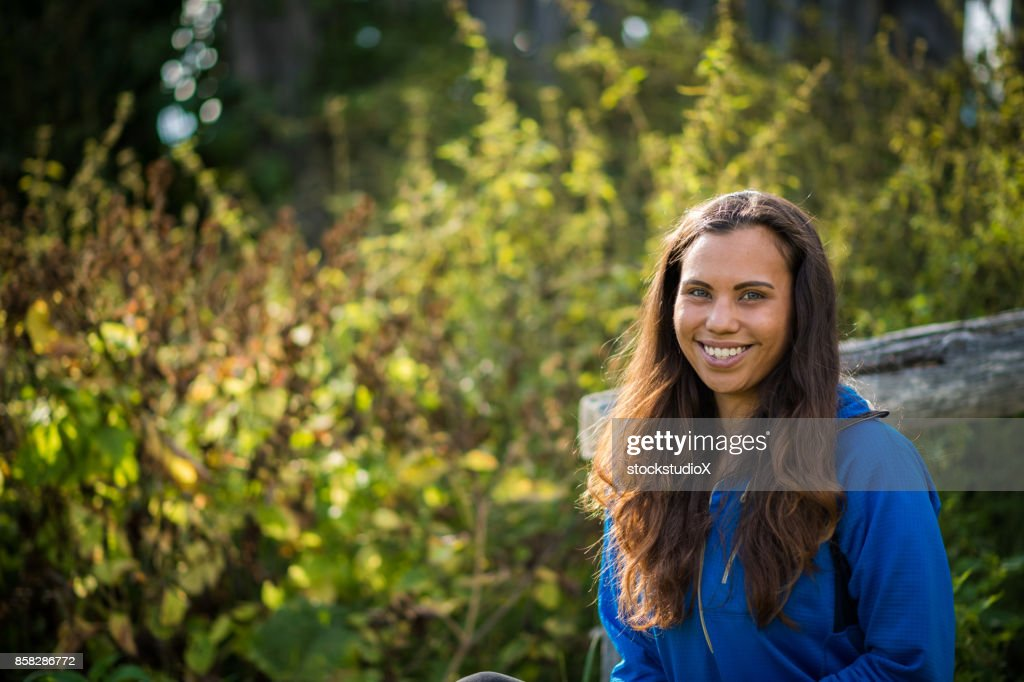 Portrait of a First Nations Canadian Woman : Stock Photo