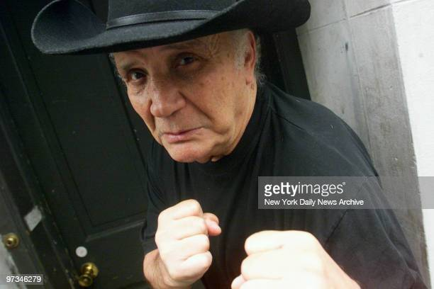Portrait of a former champ exmiddleweight boxer Jake LaMotta near his E 57th St home The 20th anniversary of Raging Bull about LaMotta's exploits in...