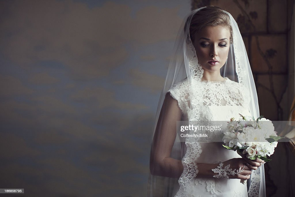 Portrait of a fresh and lovely beautiful bride : Stock Photo