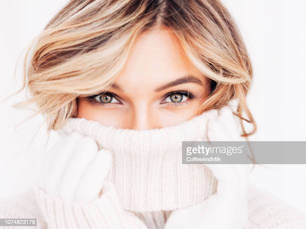 portrait of a fresh and lovely woman - jumper stock pictures, royalty-free photos & images