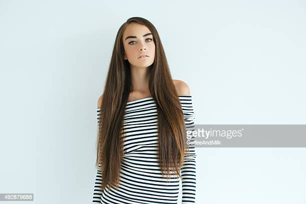 portrait of a fresh and lovely woman - straight hair stock pictures, royalty-free photos & images
